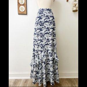 Tory Burch • Silk Floor Length Ruffles Skirt